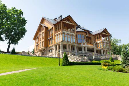 splendour: Novi Petrivtsi, Ukraine - May 27, 2015 Mezhigirya residence of ex-president of Ukraine Yanukovich. Khonka house on the hill