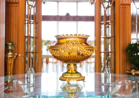 sumptuousness: Novi Petrivtsi, Ukraine - May 27, 2015 Mezhigirya residence of ex-president of Ukraine Yanukovich. Close up of luxurious vase