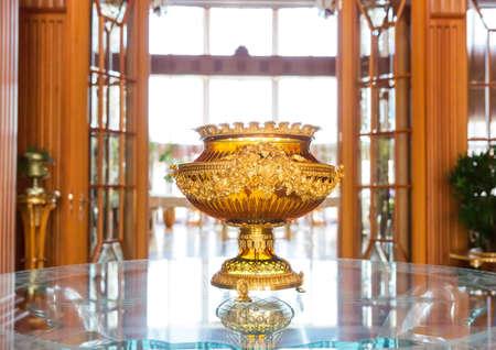 splendour: Novi Petrivtsi, Ukraine - May 27, 2015 Mezhigirya residence of ex-president of Ukraine Yanukovich. Close up of luxurious vase