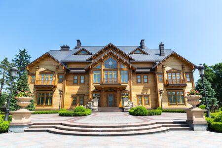 sumptuousness: Novi Petrivtsi, Ukraine - May 27, 2015 Mezhigirya residence of ex-president of Ukraine Yanukovich. Khonka house exterior. Front view
