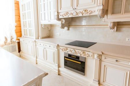 luxuriance: Novi Petrivtsi, Ukraine - May 27, 2015 Mezhigirya residence of ex-president of Ukraine Yanukovich. Close up of moderm kitchen interior
