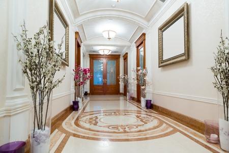 sumptuousness: Novi Petrivtsi, Ukraine - May 27, 2015 Mezhigirya residence of ex-president of Ukraine Yanukovich. Long luxurious hall