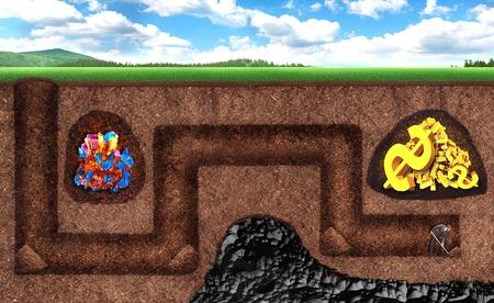 Jeune homme d'affaires creuse un tunnel souterrain à un trésor, mais il a le mauvais sens Banque d'images - 42119279