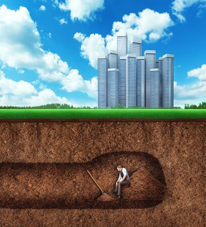 tunneling: Businessman rests on the heap of soil while digging a tunnel under the buildings