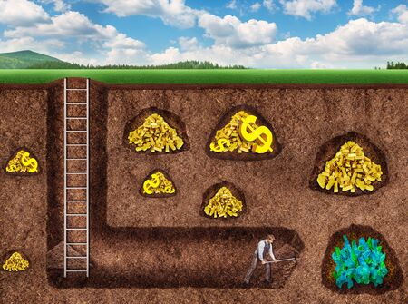 tunneling: Businessman digs a tunnel to get precious stones underground