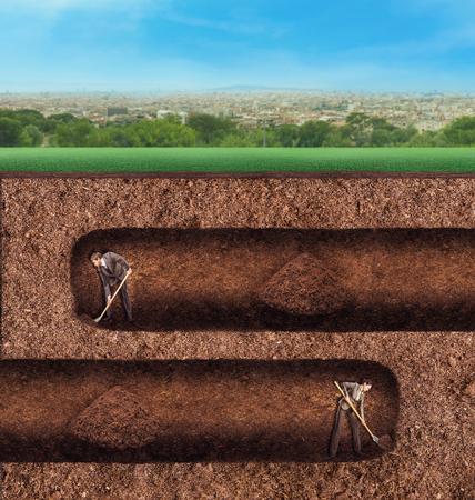 tunneling: Businessman and businesswoman dig tunnels in different ways underground