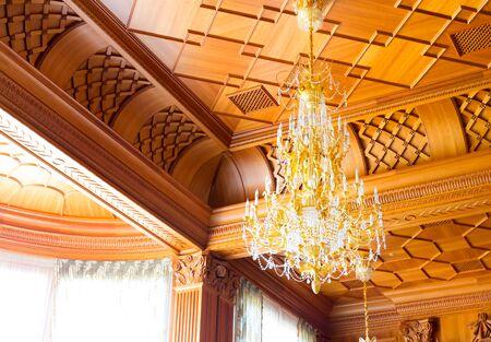 luxuriance: Novi Petrivtsi, Ukraine - May 27, 2015 Mezhigirya residence of ex-president of Ukraine Yanukovich. Close up of modern luxurious chandelier