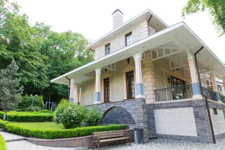luxuriance: Novi Petrivtsi, Ukraine - May 27, 2015 Mezhigirya residence of ex-president of Ukraine Yanukovich. Guest house