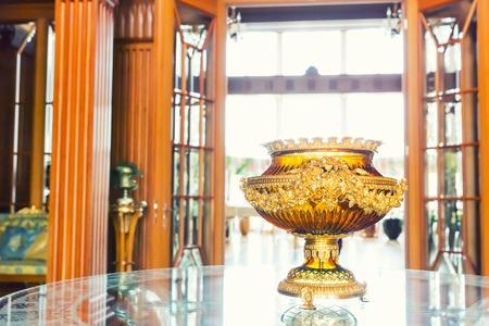 sumptuousness: Novi Petrivtsi, Ukraine - May 27, 2015 Mezhigirya residence of ex-president of Ukraine Yanukovich. Closeup of luxurious vase Editorial