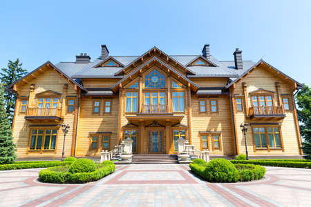 sumptuousness: Novi Petrivtsi, Ukraine - May 27, 2015 Mezhigirya residence of ex-president of Ukraine Yanukovich. Khonka house exterior Editorial
