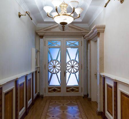 luxuriance: Novi Petrivtsi, Ukraine - May 27, 2015 Mezhigirya residence of ex-president of Ukraine Yanukovich. Long luxurious vintage corridor Editorial
