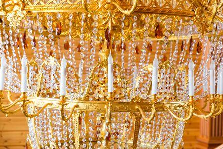splendour: Close up of modern gilded chandelier
