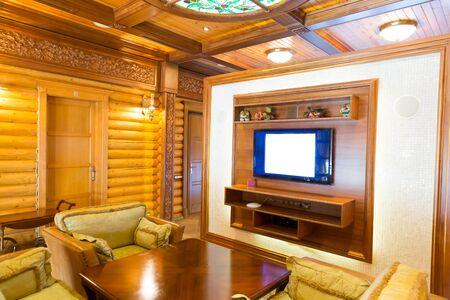 splendour: Novi Petrivtsi, Ukraine - May 27, 2015 Mezhigirya residence of ex-president of Ukraine Yanukovich. Interior of a wooden room Editorial