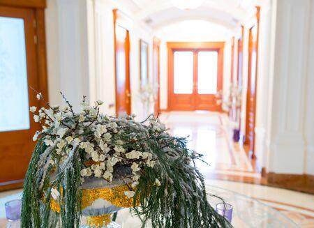 splendour: Novi Petrivtsi, Ukraine - May 27, 2015 Mezhigirya residence of ex-president of Ukraine Yanukovich. Closeup of luxurious modern hall