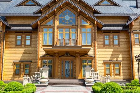 sumptuousness: Novi Petrivtsi, Ukraine - May 27, 2015 Mezhigirya residence of ex-president of Ukraine Yanukovich.  Facade of the Khonka house