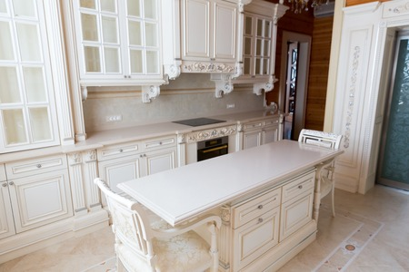 sumptuousness: Novi Petrivtsi, Ukraine - May 27, 2015 Mezhigirya residence of ex-president of Ukraine Yanukovich. Moderm kitchen interior