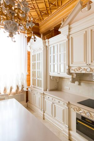 moderm: Novi Petrivtsi, Ukraine - May 27, 2015 Mezhigirya residence of ex-president of Ukraine Yanukovich. Closeup of moderm kitchen interior Editorial