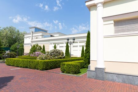 splendour: Novi Petrivtsi, Ukraine - May 27, 2015 Mezhigirya residence of ex-president of Ukraine Yanukovich. Side view of sport complex building