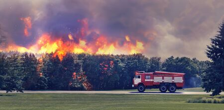 extinguish: Fire-engine is in hurry to extinguish fire in the forest