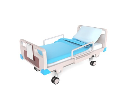 3D little medical bed isolated on white