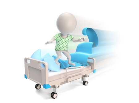 man doctor: 3D little person as a patient riding on medical bed isolated on white Stock Photo