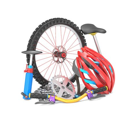 sporting activity: Equipment for biking isolated over white background