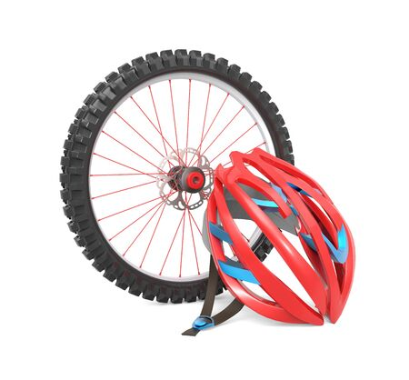casco rojo: Biking wheel and a red helmet isolated over white background