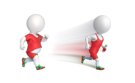 cardio fitness: One fit and other fat 3D little men running isolated on white