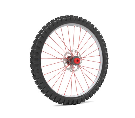 Wheel for modern bicycle isolated on white Archivio Fotografico