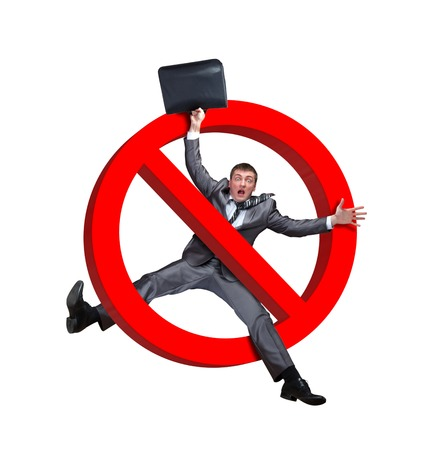 abstain: Sign NO businessman on a white background Stock Photo