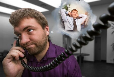 speaks: Sad man speaks on the phone dreaming aboute new job