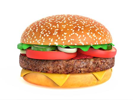 queso blanco: Gran sabrosa hamburguesa aislado en el fondo blanco