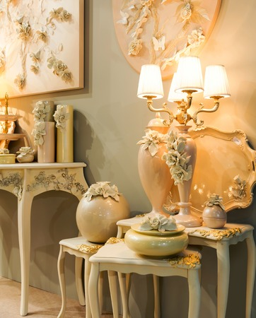 inside house: Vintage lamps in the room
