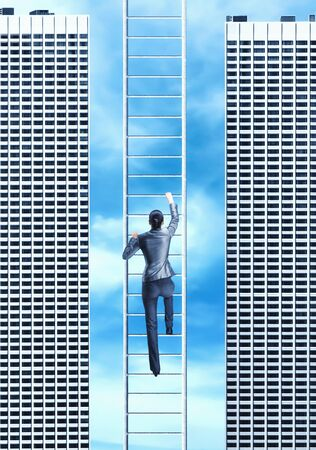 climb job ladder: Businesswoman climbing the ladder between two skyscrapers Stock Photo