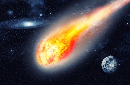 catastrophic: Asteroid flies in the dark space Stock Photo