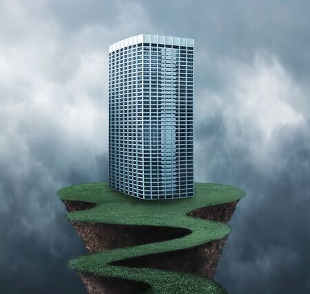 over the edge: Building on the edge of a grass path over gray