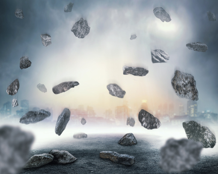 chaos: Rocks falling in chaos over abstract background Stock Photo