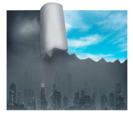 dull: Dull, grey city with piece of bright blue sky, hope concept
