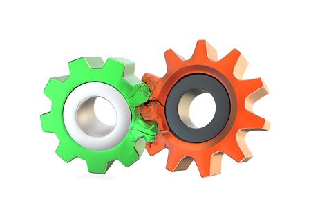 unacceptable: Two unacceptable gears on white Stock Photo