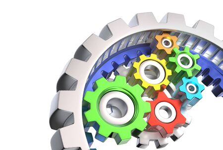 mechanism: Mechanism of various colorful gears isolated on white