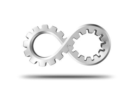 infinity: 3d gear formed in an infinity shape