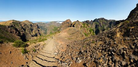 tourist feature: Hiking path high in mountains, Portugal, Madeira