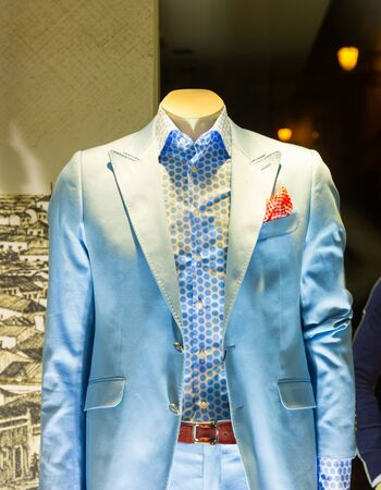 seasonable: Elegant suit on the mannequin in the shop Stock Photo