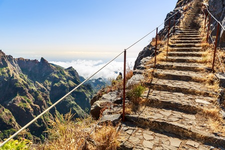 portugal: Path with steps and handrails in the mountains, Portugal, Madeira