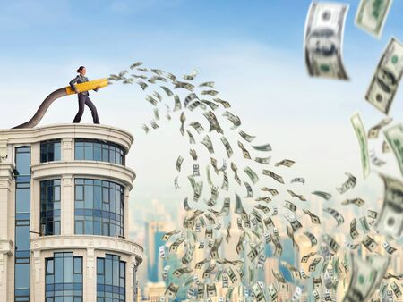heap of dollar: Woman on the skyscraper funds dollars Stock Photo