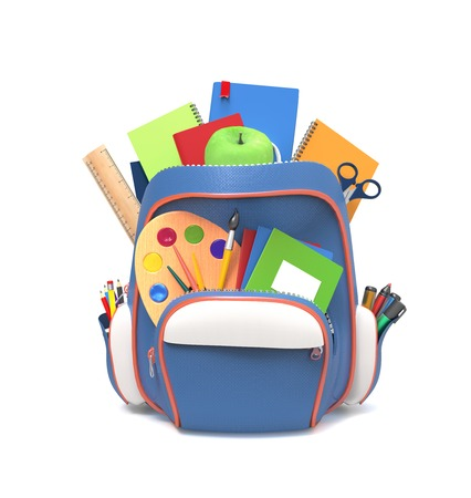 individual: Blue school backpack with pens and copybooks isolated on white background