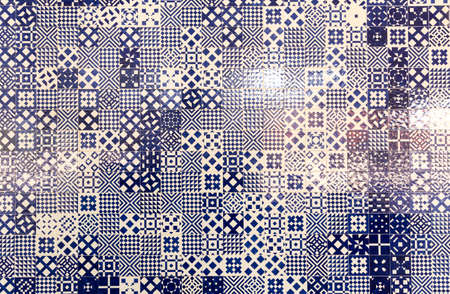 abstrakte muster: Abstract tile texture with many blue geometric patterns