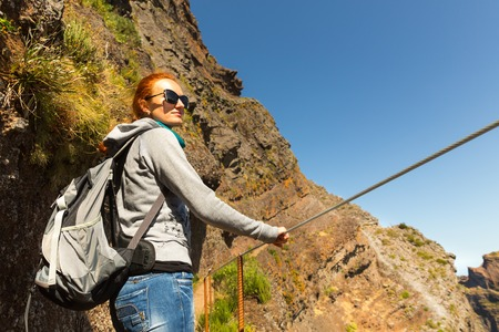 Traveler in beautiful mountains, Madeira photo