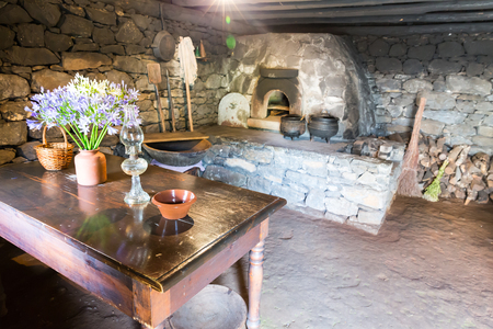 rustic kitchen: Ancient kitchen interior with furnace, pots and table with flowers Stock Photo