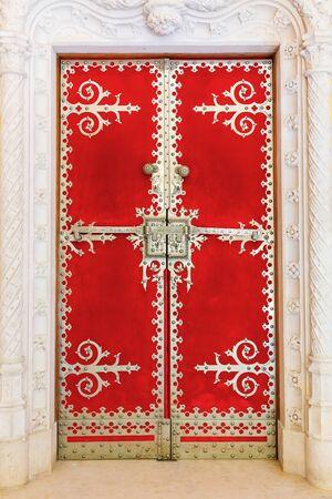 door way: Red vintage decorated with modeling door way